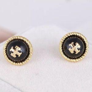 Tory Burch Gold&Black Nautical Logo Stud Earrings